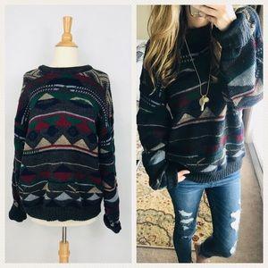 Vintage Aztec Chunky Oversized Boyfriend Sweater